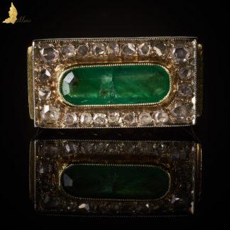 Damski Sygnet Art Deco ze Szmaragdem