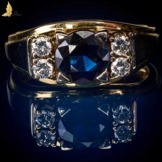 Inspirowany Art Deco pierścionek z Szafirem 2,25 ct i Brylantami