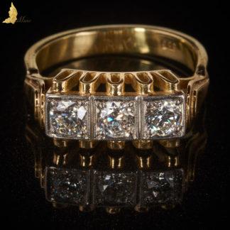 Powojenny pierścionek z 3 Brylantami inspirowany Art Deco
