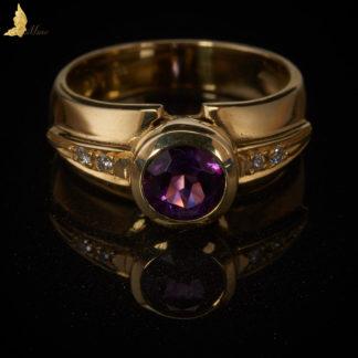 Współczesny pierścionek z Ametystem 1ct i Brylantami
