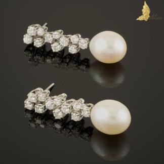 Kolczyki z perłami Akoya i brylantami ok. 2,20 ct w białym złocie 18K