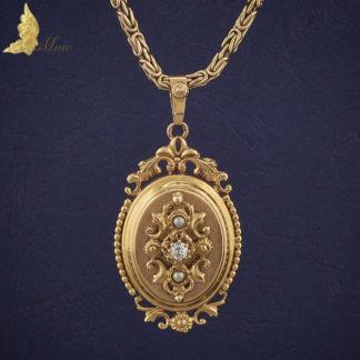 Zawieszka z brylantem i 2 perłami, Empire I poł. XIX w., Francja 18K złoto