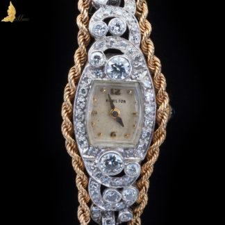 Platynowy zegarek z brylantami, amerykańskiej firmy Hamilton, lata 20-te XX w. Art Deco
