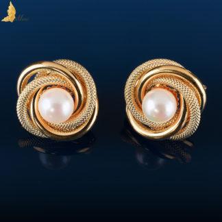 Złote kolczyki 'koszyki z perłami' w złocie 18K, Italia XX w.