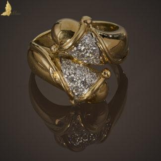 Złoty pierścionek splot słoneczny z diamentami -0070