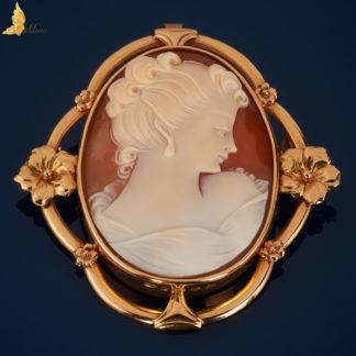 Broszka Kamea z Profilem Damy, złoto 18 K-BR0011