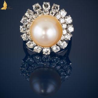 Pierścionek Vintage Perła w koronie z brylantów-P0068