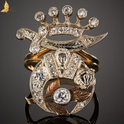 Damski pierścień masoński, złoto i diamenty, Ameryka XX w