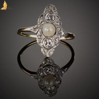 Złoty pierścionek splot słoneczny z diamentami-P0071