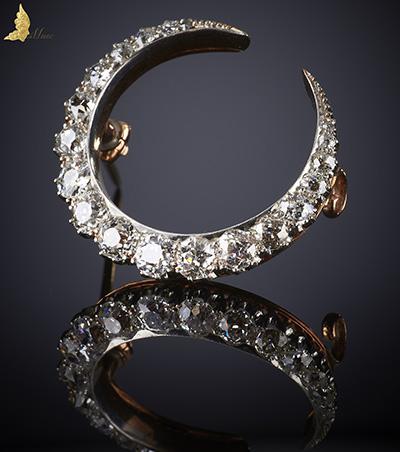 Wiktoriański antyczny Diamentowy półksiężyc
