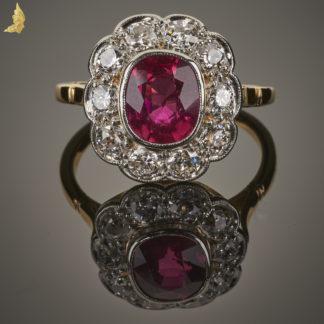 Rubinowa Karmazycja z Diamentami w starym szlifie w 18K złocie
