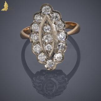 Złoty pierścionek Navette z brylantami ok. 1,5 ct