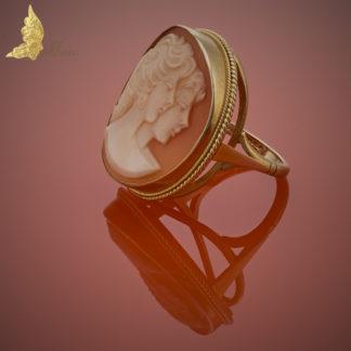 Złoty Pierścionek Kamea - Dwie Muzy
