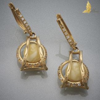 Kolczyki 'Bridge', Royal Amber, Brylanty, Złoto pr.750