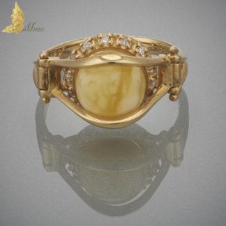 Pierścionek 'Bridge' Royal Amber, Brylalnty, Złoto pr.750
