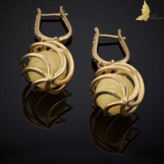 Kolczyki 'Forever' Royal Amber i Czarne Diamenty pr.750