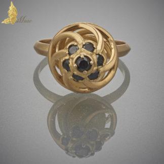 Pierścionek 'Forever' Royal Amber i czarne brylanty w żółtym złocie 18K