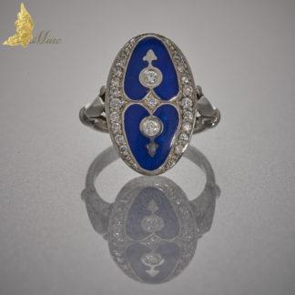 Autorski pierścionek z kobaltową emalią i brylantami