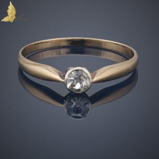 Solitaire, diament w starym szlifie ok. 0,27 ct w 14K złocie