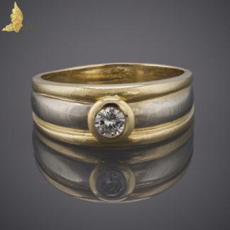 Pierścionek - obrączka z brylantem 0,3 ct w dwukolorowym złocie