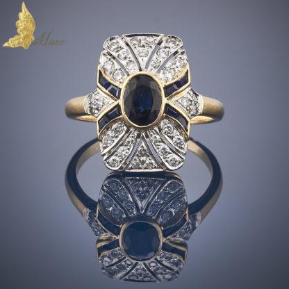 Powojenny pierścionek w stylu Art Deco z szafirami ok. 1,25 ct i brylantami ok. 1 ct