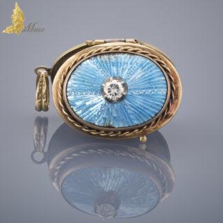 Sekretnik z błękitną emalią i brylantem w 18 K złocie, Francja XIX / XX w.