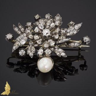 Broszo-wisior z brylantami ok. 4 ct i perłą w srebrze i złocie II poł. XIX wieku