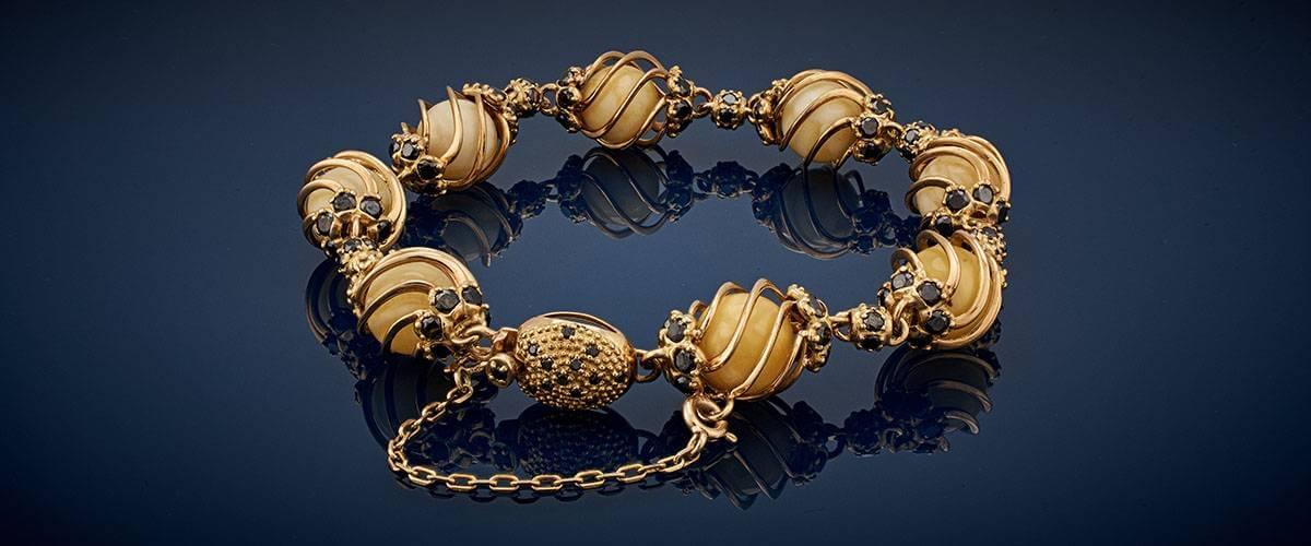 Bransoleta 'Forever' Royal Amber i Czarne Diamenty ok. 9 ct!