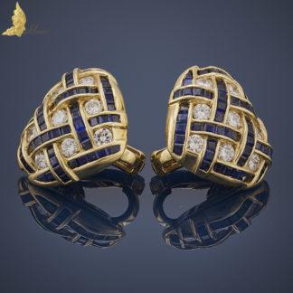 Kolczyki Serca z brylantami 1,20 ct i szafirami 3,20 ct w 18K złocie