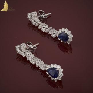 Wiszące kolczyki z szafirami 3 ct i diamentami 2,12 ct w białym złocie pr.750
