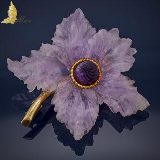 Antyczna brosza 'Ametystowy kwiat' w żółtym złocie 14K