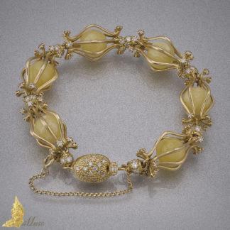 Bransoleta 'Celebration' z brylantami 2,87 ct i bursztynem Royal Amber w 14K złocie