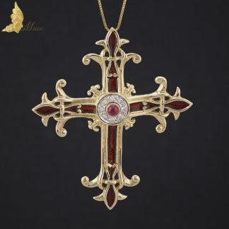 Unikatowa zawieszka-krzyż z czerwoną emalią na guillochu, brylantami i rubinem w 14K żółtym złocie