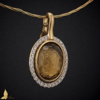 Diamentowa zawieszka ok. 0,77 ct z kwarcem w żółtym złocie pr. 750