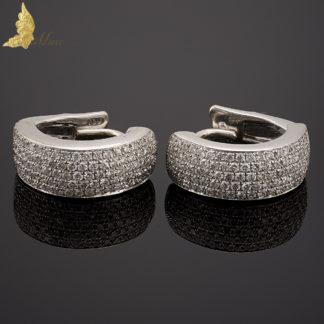 Kolczyki diamentowe w oprawie 'pave' ok. 1,10 ct w białym złocie 18K