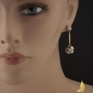 Projektowe kolczyki z diamentami 1,40 ct w białym i żółtym złocie 14K