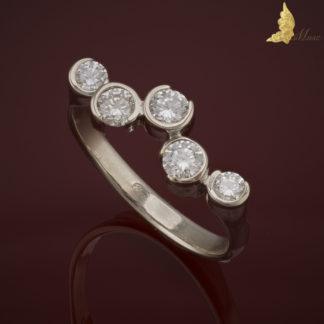 Fantazyjny pierścionek z 5 brylantami 0,715 ct w białym złocie 14K, proj. J. Baron