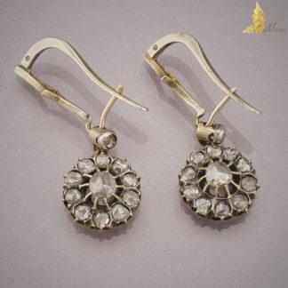 Kolczyki z rozetami diamentowymi ok. 2,20 ct w srebrze i złocie, II poł. XIX w.