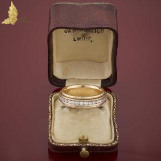 Ruchoma obrączka z brylantami 1,50 ct w dwukolorowym złocie