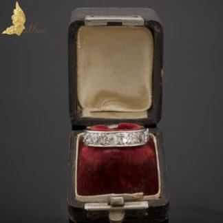 Platynowa obrączka z brylantami w dawnym szlifie ok. 3,60 ct, Francja po 1912 r.