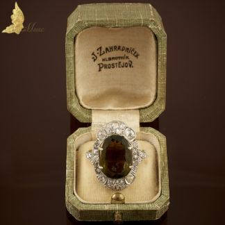 Pierścionek Art Deco z turmalinem i brylantami w 14K złocie
