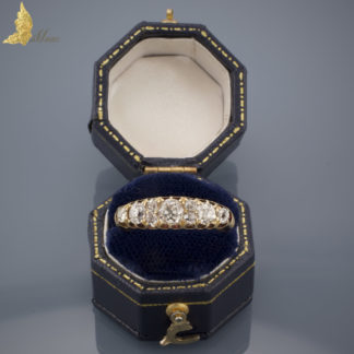 Wiktoriański pierścionek z brylantami ok. 1,60 ct w żółtym złocie 18K