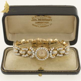 Zegarek z końca XIX w. Mathey Tissot z brylantami ok. 7 ct w 18K złocie, Francja