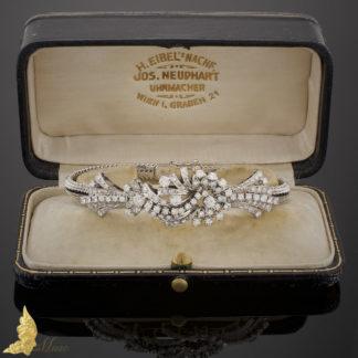 Powojenna bransoleta z brylantami ok. 3,80 ct w 18K białym złocie