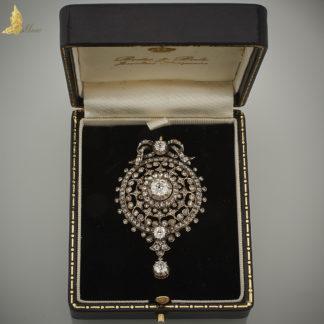 Zawieszka-wisior I poł. XIX w. z brylantami w srebrze i żółtym złocie pr. 580