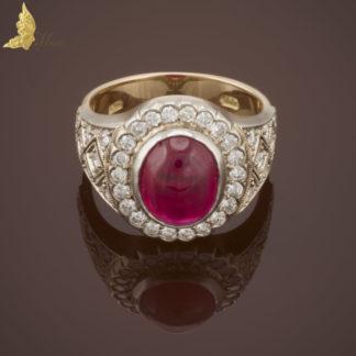 Kolekcjonerski pierścionek z naturalnym rubinem ok. 4 ct i brylantami ok. 1,50 ct