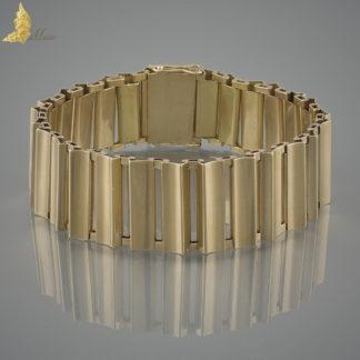 Projektowa bransoleta w 14K żółtym złocie, lata 40-te XX w.