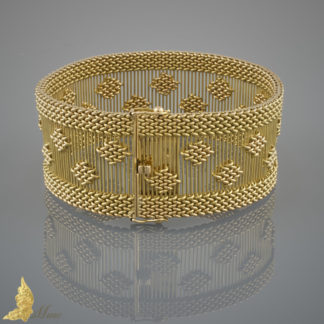 Bransoleta Art Deco, 18K żółte złoto i ażurowa forma, Francja I poł. XXw.