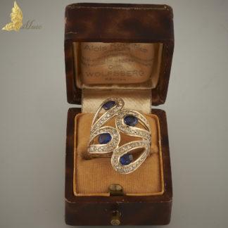 Pierścionek 'pawie oczka' z 4 szafirami i brylantami ok. 1 ct w żółtym złocie 18K