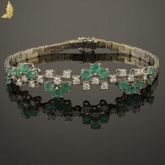 Bransoleta vintage ze szmaragdami i brylantami w 18K białym złocie